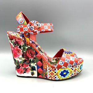 NIB DOLCE & GABBANA Majolica Wedges Sandals 38.5